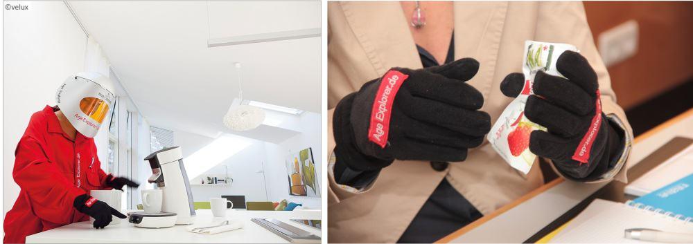 Mit dem Altersanzug AgeExplorer kann man Produkte und Verpackungen testen und optimieren.