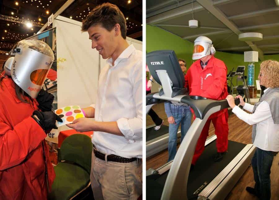 Altersanzug mieten für Jobmesse (links): der Moderator erläutert einem Schüler das Erlebnis Alter oder Gesundheitstag (rechts): Cardio auf dem Laufband ist mit Altersanzug viel anstrengender.