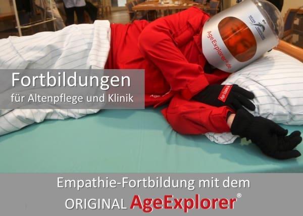 Der rote Altersanzug AgeExplorer ermöglicht bei Fortbildungen, sich in die Situation alter Patienten zu versetzen.